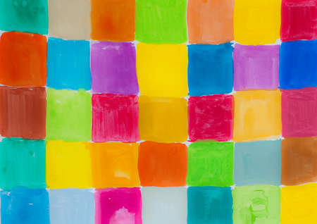 aquarel: rainbow colors - squares on textured background