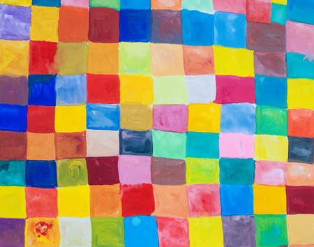 tempera: rainbow color squares - painted colorful background