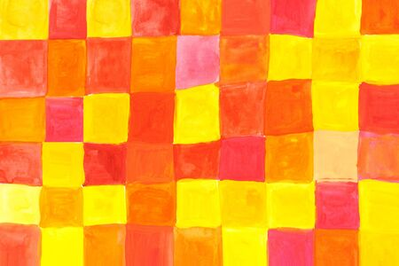 aquarel: yellow and pink squares - watercolours on textured background Stock Photo