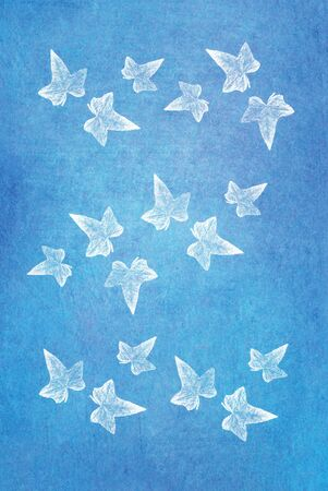 aquarell: white leaves on colored paper background