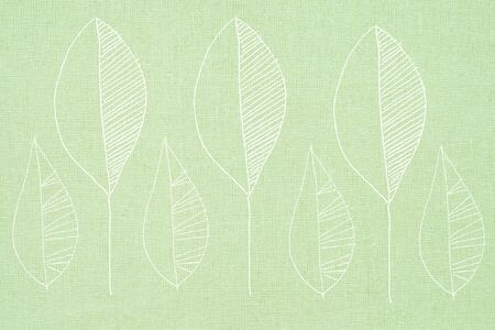 surface: drawn leaves on textile surface - illustration Stock Photo