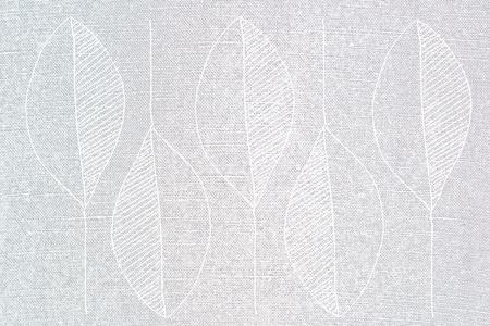 linen texture: leaf print on linen texture Stock Photo