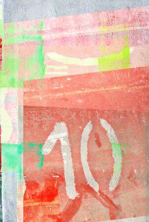 ten: grunge retro number ten on textured background