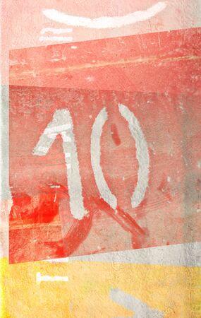 numero diez: grunge retro número diez en fondo de textura