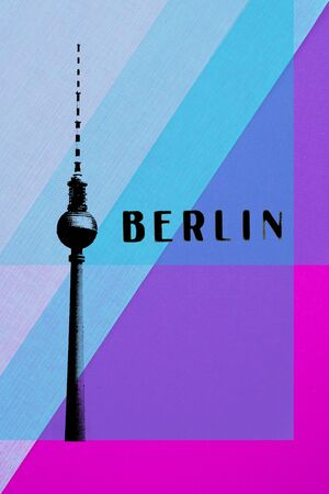 east berlin: Berlin Vintage postcard - tv tower and letters on abstract background