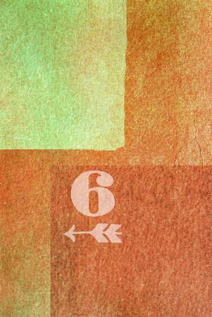 old fashioned: old fashioned number six on textured abstract background - earthy colors - graphic design Stock Photo