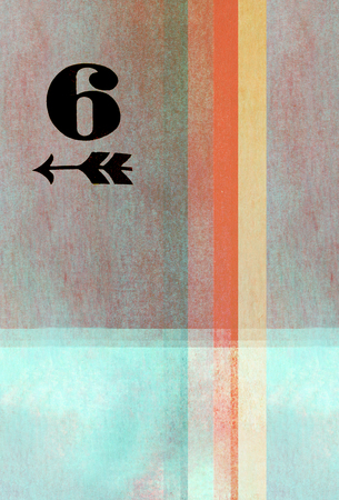 earthy: old fashioned number six on textured abstract background - earthy colors - graphic design Stock Photo