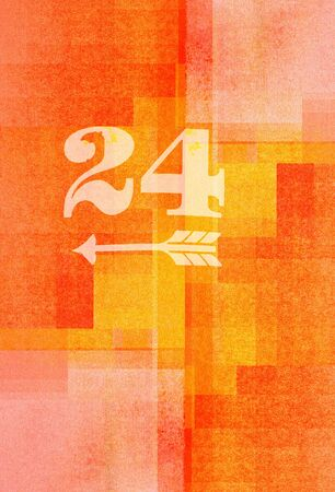 twenty: old fashioned number twenty four  on textured abstract background - earthy colors - graphic design