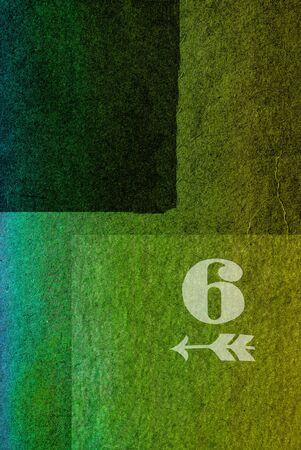 number six: old fashioned number six on textured abstract background - earthy colors - graphic design Stock Photo