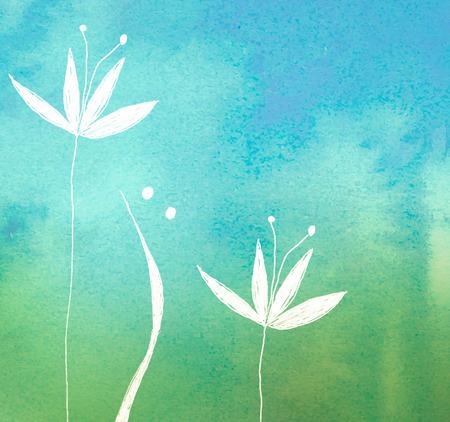 azul turqueza: flor blanca en verde fondo pintado acuarela