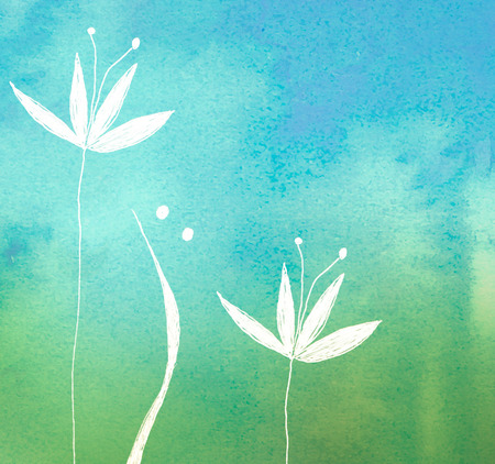 white flower on green painted watercolor background Standard-Bild