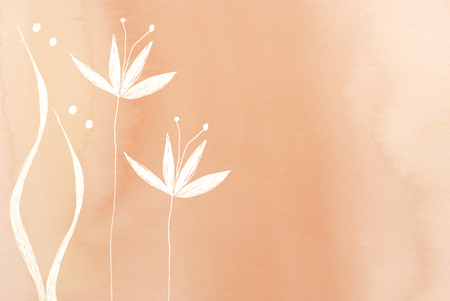 background colors: white flower painted on beige background Stock Photo