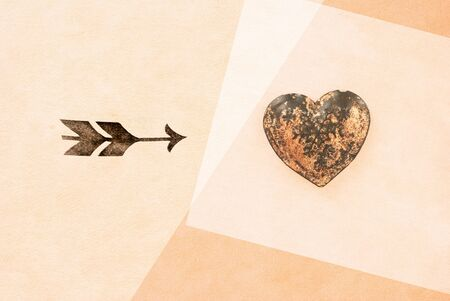 day saint valentin: arrow and heart on textured background - love symbol - greeting card