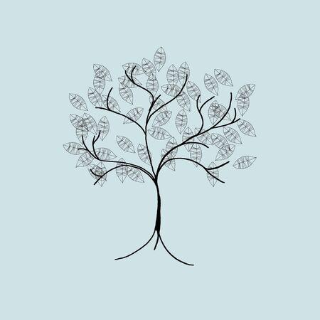 seasonal greeting: cute tree - illustration - seasonal greeting card