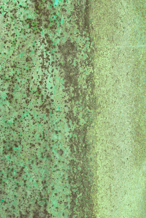 oxidized: oxidized material - close up of a textured oxidized surface background design - green and brown color Stock Photo