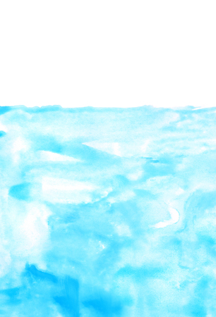 pastel tone: blue watercolors on paper texture - background design - hand painted element Stock Photo