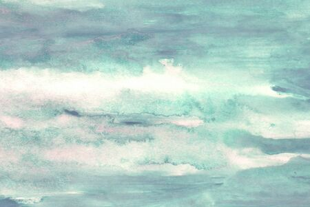 smudged: green watercolors on paper texture - background design - handpainted element
