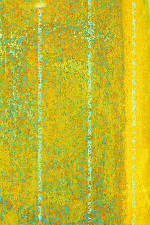 oxidized: oxidized material - close up of a textured oxidized surface background design - yellow and green Stock Photo