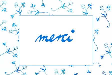 merci: Thank You in french language - merci- letters - little flowers
