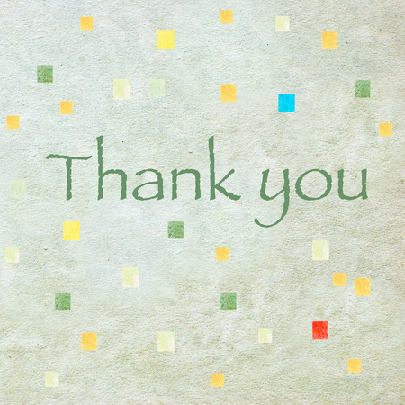 earthy: Thank You - green letters on beige  watercolor paper texture