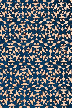 arabe: primer plano de diseño malasio tradicional azul impresa sobre el algodón de textura - fondo abstracto de la moda