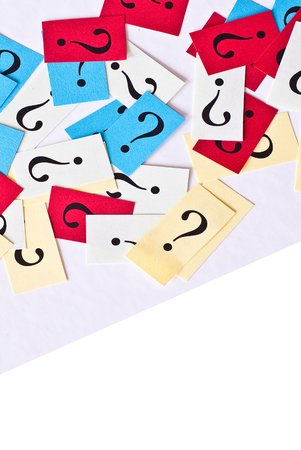 FAQ - Question Marks on paper background - free text space