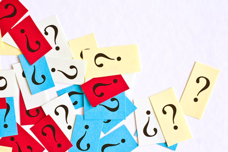 FAQ Question Marks on white background -
