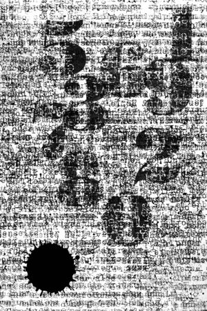 Black Vintage Numbers and ink blob on Text Background