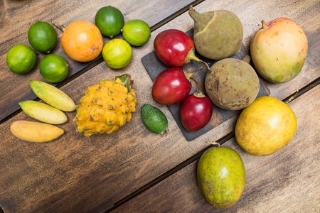 tropical fruits from the market - studio shot from above