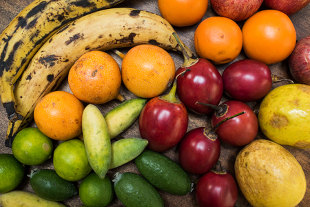 colorful mix of tropical fruits - fruit market