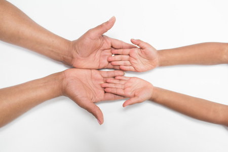 keep in touch: mother and daughters hands on white background -  love symbol  Mothers Day Stock Photo