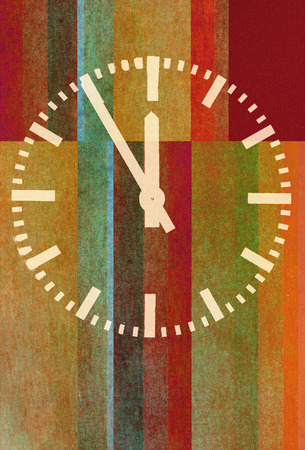 classic clock on textured abstract background - earthy colors - graphic design Stock Photo