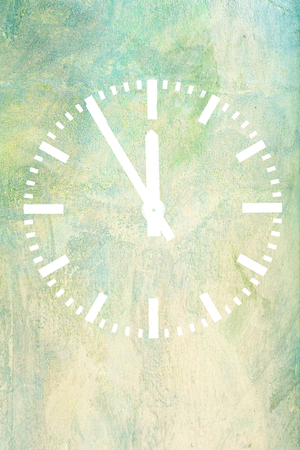classic clock on green background Stock Photo