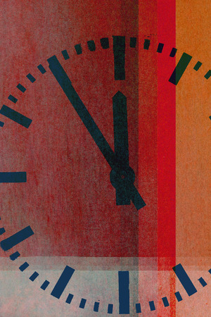clock on textured abstract background - earthy colors - graphic design