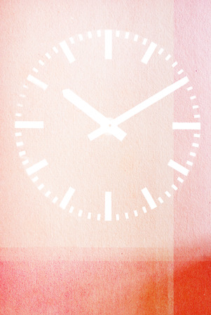 Clock on red textured abstract background