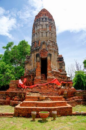 singburi: Ancient pagoda in Buddhist temple in Singburi province, Thailand.