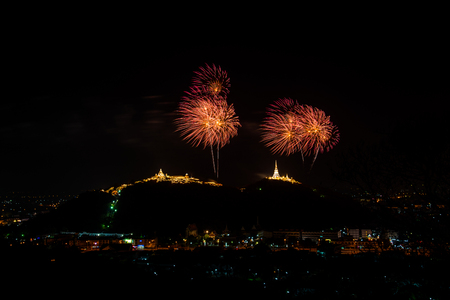 wang: Fireworks at Kao Wang mountain, over the cityscape of Petchburi, Thailand