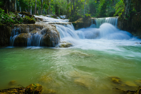 Kuang Si waterfall, the most famous water fall in Lao. Stock Photo