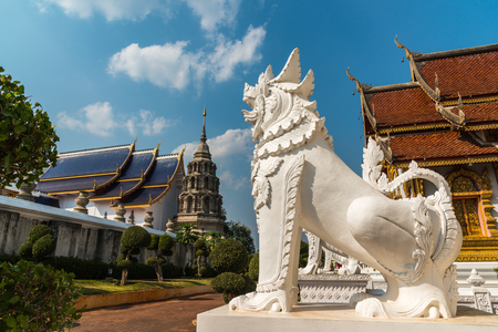 himmapan: Lion in Thai traditional fairy tales as part of Thai Buddhist temple.