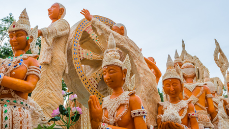 Thai literature goddesses made from wax for marhing in candle festival in Ubonratchthani, Thailand