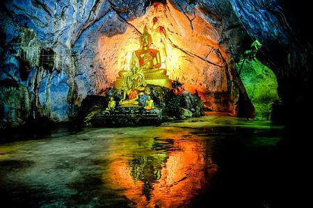 Group pf Buddha image in the cape in Saraburi of Thailand Editorial