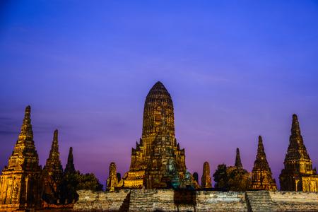 Chai Watthanaram, ancient Buddhist temple, the tourist destination and landmark in Ayuthaya, Thailand during twilight Stock Photo