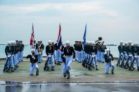 Pattaya, Thailand - November 15, 2017: Thai navy demonstating Fancy Drill in International Fleet Review 2017 at the beach of Pattaya, Thailand.