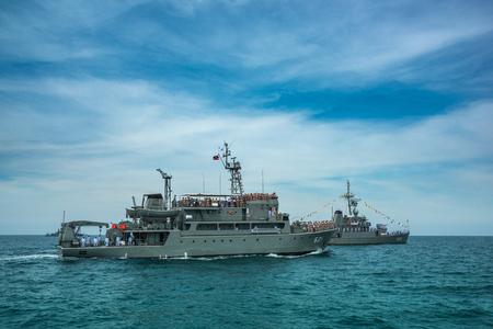 Pattaya, Thailand - November 9, 2017, Navy warship running on sea on the 50th anniversary ASEAN international fleet review 2017 drill in Pattaya, Thailand