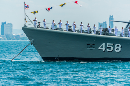 Pattaya, Thailand - November 9, 2017, Navals in activity of fleet review on warship running on sea on the 50th anniversary ASEAN international fleet review 2017 drill in Pattaya, Thailand