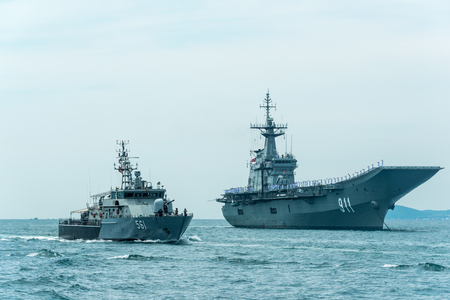 Pattaya, Thailand - November 9, 2017, Navy warships running on sea on the 50th anniversary ASEAN international fleet review 2017 drill in Pattaya, Thailand