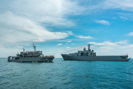 Pattaya, Thailand - November 9, 2017, Navy warships running on sea on the 50th anniversary ASEAN international fleet review 2017 drill in Pattaya, Thailand