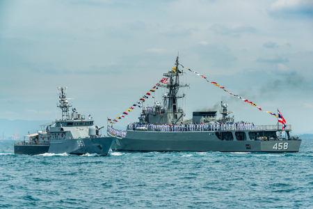 Pattaya, Thailand - November 9, 2017, Navals in activity of fleet review on warship running on sea on the 50th anniversary ASEAN international fleet review 2017 drill in Pattaya, Thailand