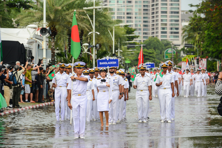 Pattaya, Thailand - November 19, 2017: Bangladesh Navy parade marching on the 50th anniversary ASEAN International Fleet Review 2017 at the beach of Pattaya, Thailand Editorial