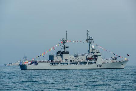 Pattaya, Thailand - November 18, 2017, Navy warships running on sea on the 50th anniversary ASEAN international fleet review 2017 drill in Pattaya, Thailand